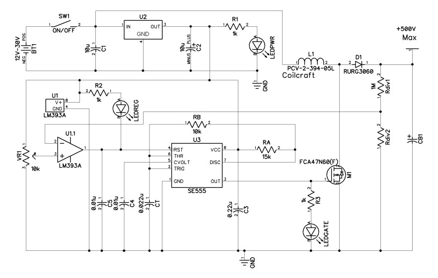 Basic Regulated Boost Converter 500V PCB